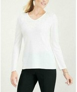 $46.50 Karen Scott Luxsoft Faux-Pearl V-neck sweater, M, Winter White - $18.07