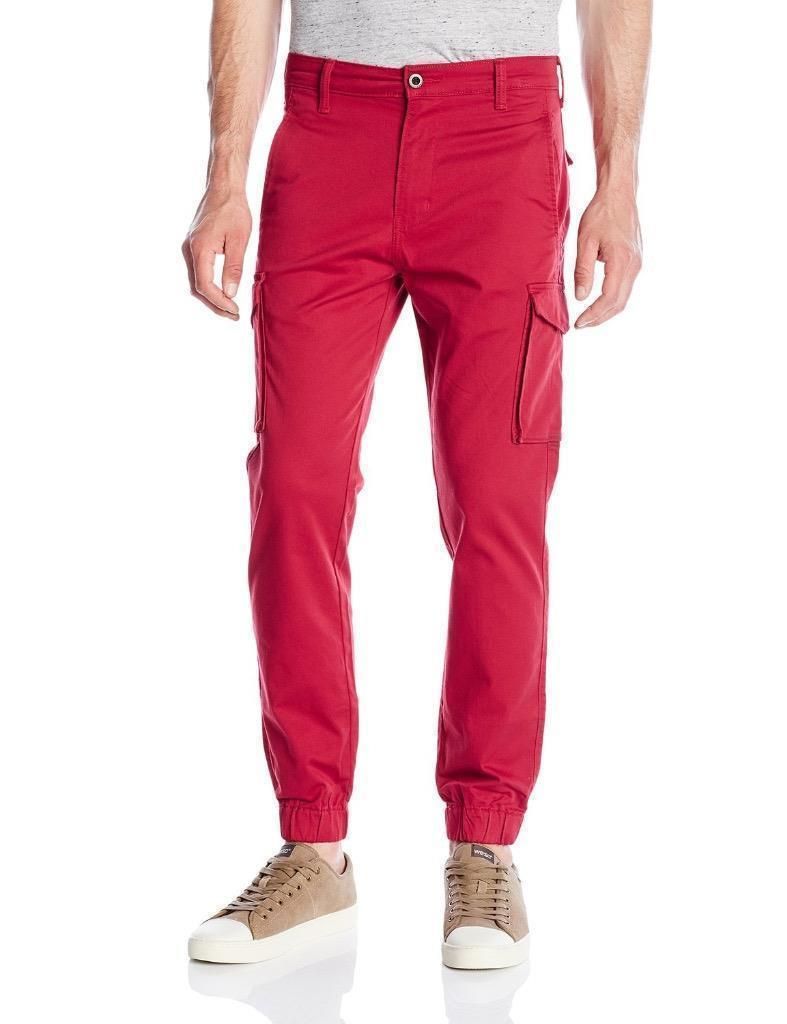 NEW LEVI'S MEN BANDED CARGO CHINO JOGGER STRETCH PANTS SLIM FIT RED 246750004