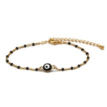 Lucky Eye Miyuki Beads  Charm Bracelet Gold Color Chain Dropping Oil Bra... - $14.34