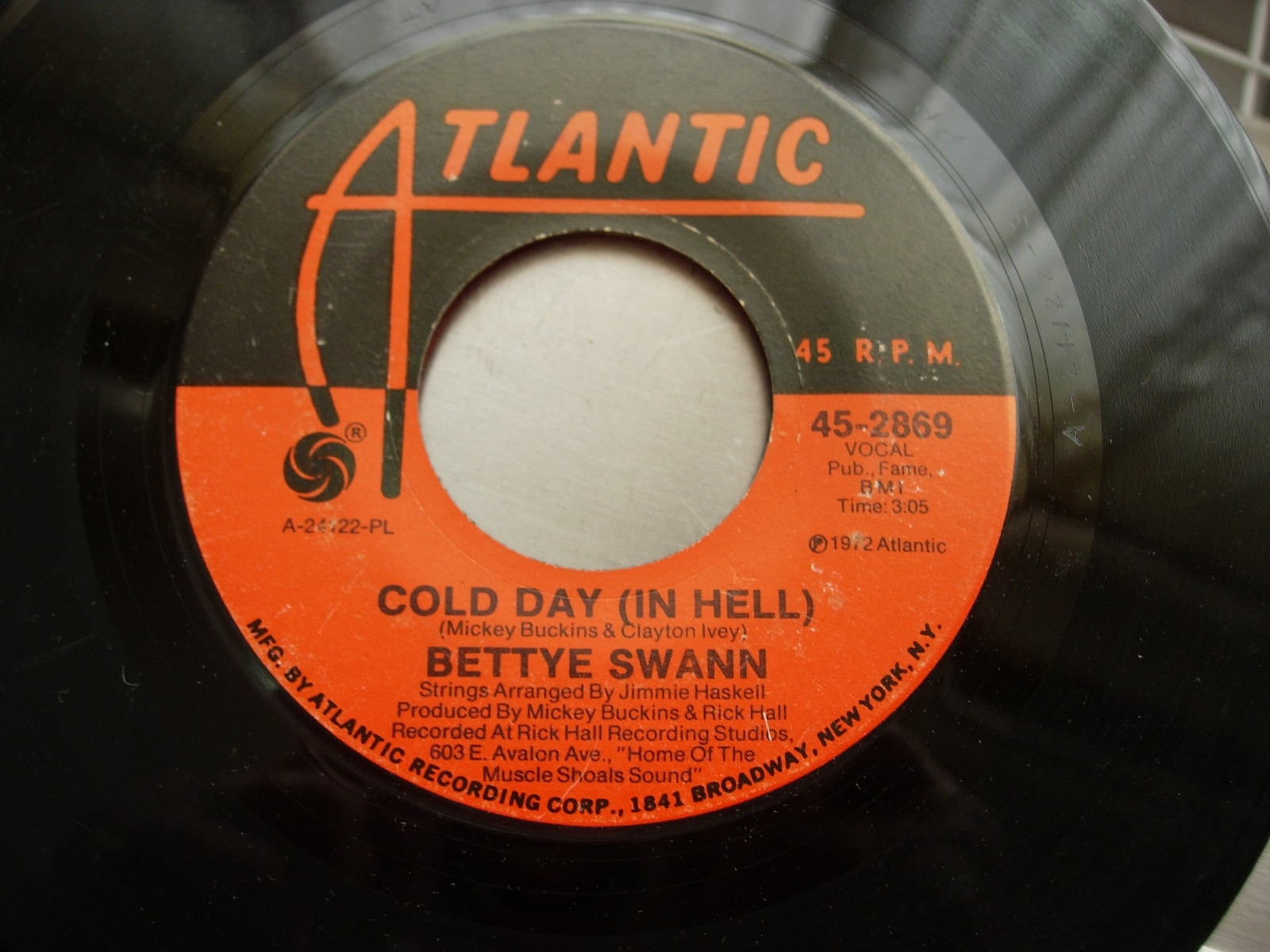 Bettye Swann - Cold Day (In Hell) / Victim of a Foolish Heart -Atlantic 45-2869
