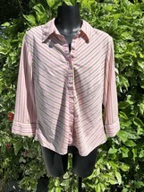 Ninety Pink Striped Shirt Womens L Collared Button Front Top Career Casual - $11.85