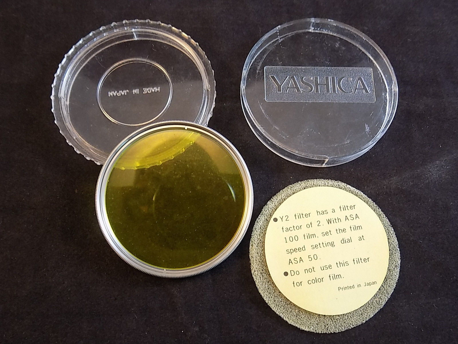 YASHICA Y2 FILTER CAMERA LENS 55mm YELLOW Lens Filter for 35MM Camera