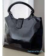 New Lancome Glossy Black Faux Leather Vertical Tote Bag - $14.84