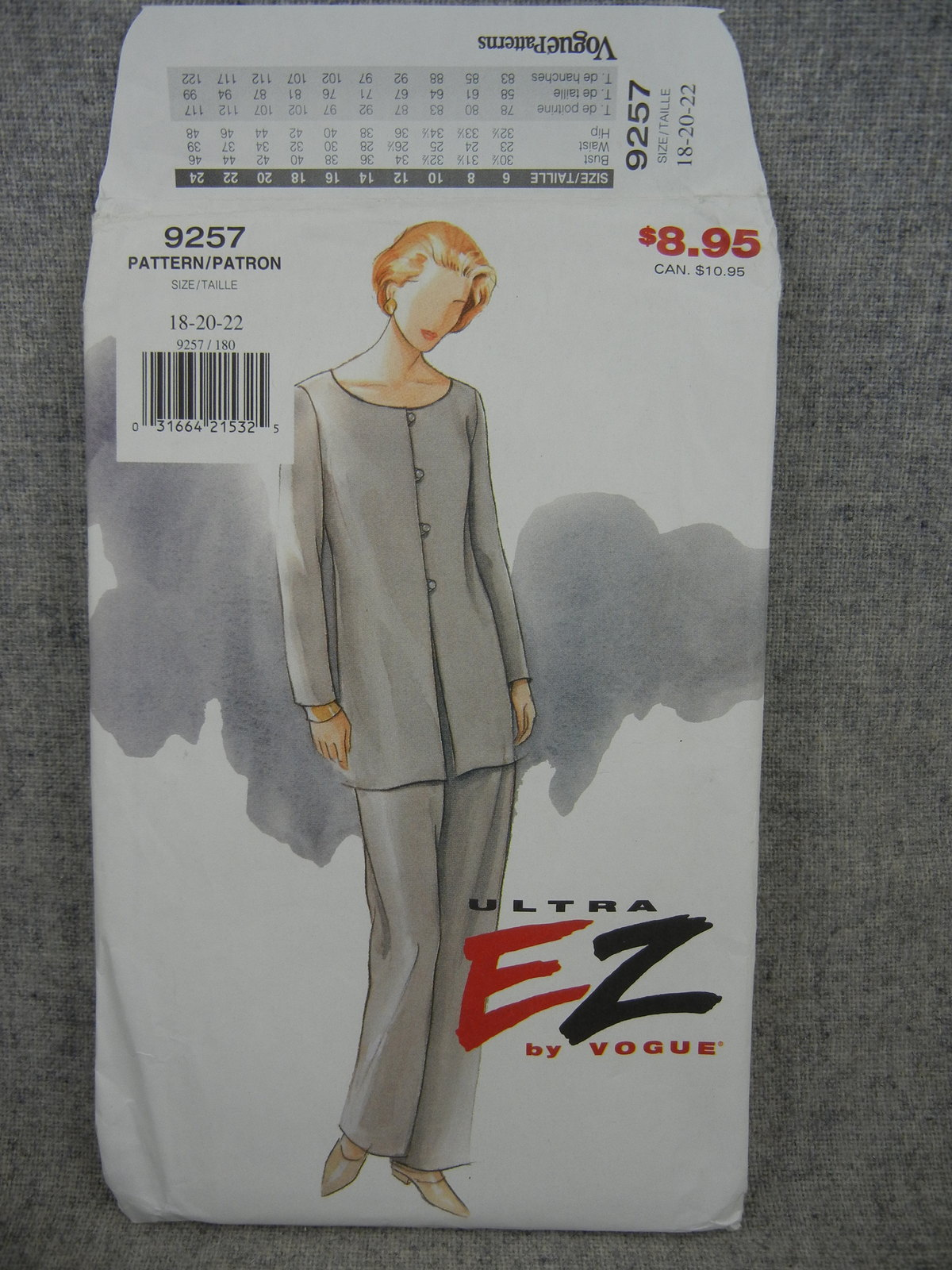 Primary image for Misses 18 20 22 Front button Tunic and Pants Vogue 9257 Ultra EZ   UC FF