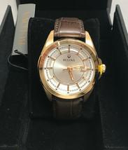 Bulova Men's White Dial Gold Case Brown Leather Band 97B185 - $164.38