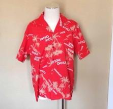 Hilo Hattie XL Red Button Up Hawaiian Palm Graphic Shirt Hawaii Cruise W... - $24.07