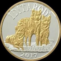 Alaska Mint Iditarod 2017 Silver & Gold Relief Medallion Proof 1Oz - $118.88