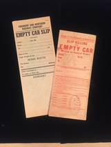 Vintage Train/Railway Empty Car Slips - set of 2