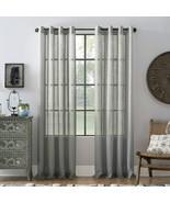 "Archaeo Slub Textured Linen Blend Grommet Top Curtain 52"" x 95"", Ivory O... - $12.86"