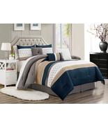 11-Pc Jasper Pleated Square Comforter Curtain Set Navy Beige White Gray ... - $117.54
