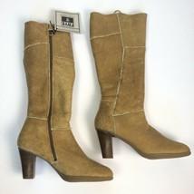 Frye 10.5 Sherpa Shearling Tan Heel Boots Zip Leather Tall Shawna Fur Camel - $98.99