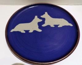 Vintage Mayflower Studio Pottery Plate Blue Glaze Corgi Dogs - $27.09