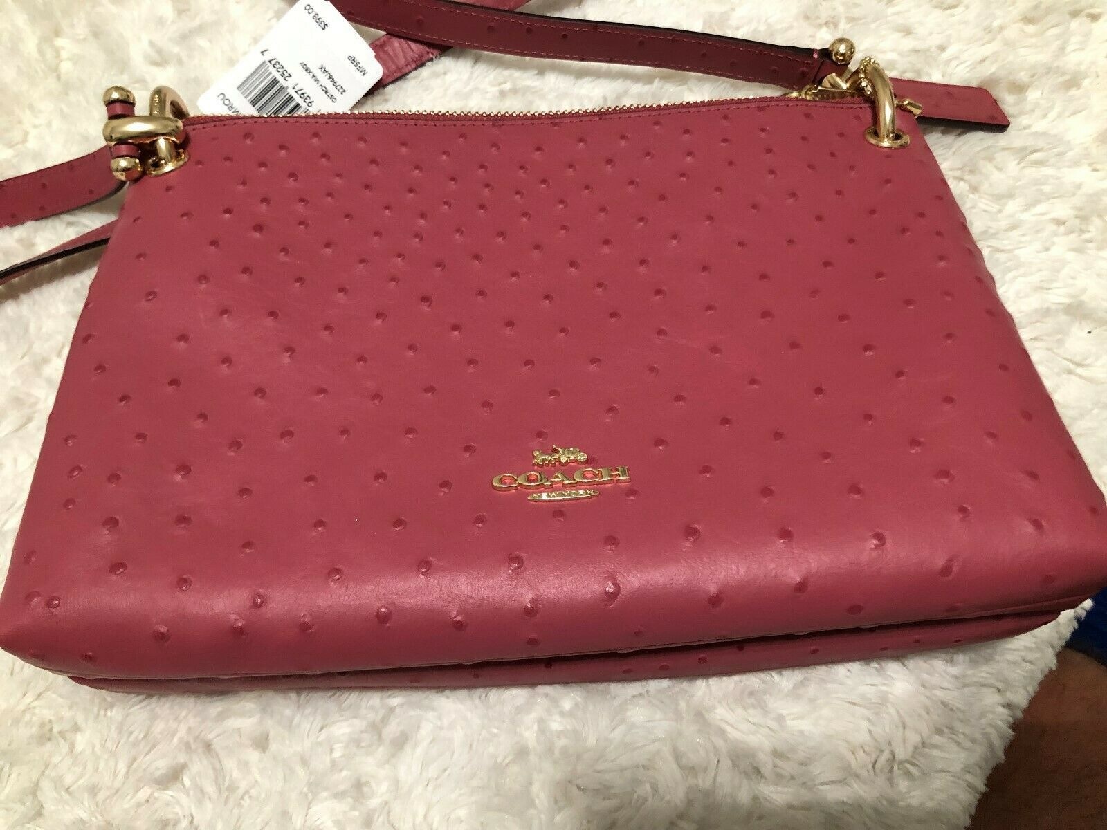 Coach Mia Ostrich Double Zip/Gusset 3 Chamber Crossbody Bag in Rouge $398 F76644