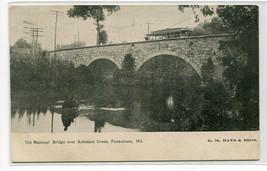 Streetcar Old National Bridge Antietam Creek Funkstown Maryland 1907 postcard - $6.93
