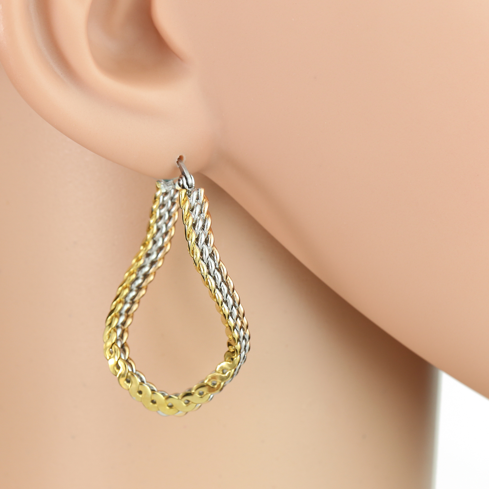 Unique Tri-Color Silver, Gold & Rose Tone Hoop Earrings- United Elegance