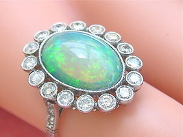 ESTATE EDWARDIAN STYLE 5ct GREEN OVAL OPAL 1ct DIAMOND PLATINUM COCKTAIL... - $3,658.05