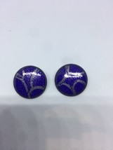 Vintage Blue And Silver Enamel On Copper Button Earrings - $35.52