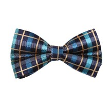 DBD7C12B Blue Tan Checkered Microfiber Males Bow Tie Groomsmen Presents ... - $19.01