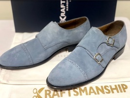 Handmade Men's Gray Suede Double Buckle Strap Dress/Formal Shoes image 3