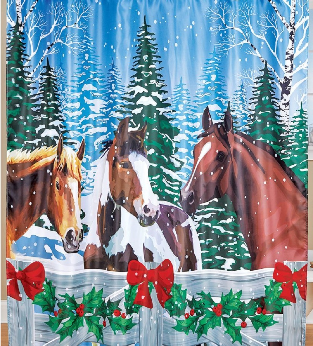 Christmas Gift Horse Shower Curtain Bath Tub Bathroom Winter Holiday Home Decor