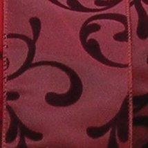The Ribbon People Burgundy Luxury Satin with Dark Burgundy Swirl Wired C... - $50.98