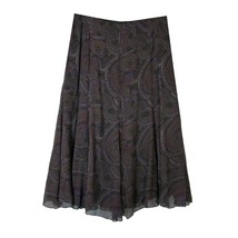 RALPH LAUREN Long Flared Skirt 12 Paisley Silk Chiffon Lined Midi Black ... - $28.00