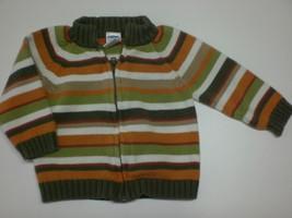 K4961 Boys Gymboree Green/Tan/Orange Striped Zip Up Sweater Jacket Coat 6-12 Mo - $4.75