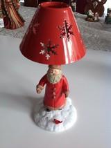 Hallmark  Santa In the Snow Feeding a Red Bird Tealight Candle Holder  - $23.76