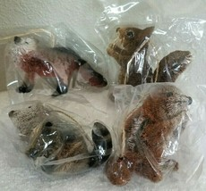 Set of 4 Pottery Barn Bottle Brush Ornaments CHIPMUNK SQUIRREL RACOON FO... - $35.00