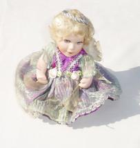 Beautiful Vintage Collectible Purple Porcelain Fairy Doll - Fantasy Figu... - $24.74