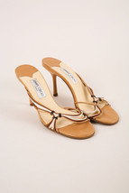 Jimmy Choo Brown & White Leather Cord Strap Sandals SZ 40 - $85.00