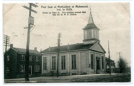 M E Church 5th St First Seat of Methodism in Indiana Richmond IN 1909 po... - $6.88
