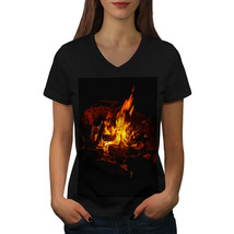 Burning Fire Cozy Shirt Warm House Women V-Neck T-shirt - $12.99+