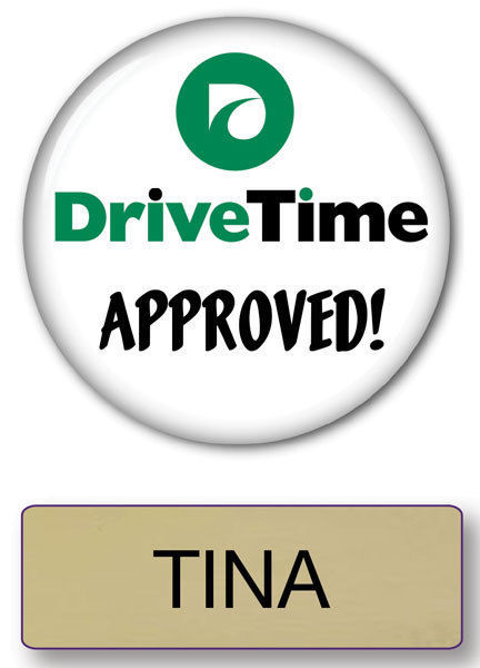 TINA DRIVE TIME COMMERCIAL PIN BACK NAME BADGE & BUTTON HALLOWEEN SHIPS FREE