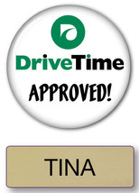 TINA DRIVE TIME COMMERCIAL PIN BACK NAME BADGE & BUTTON HALLOWEEN SHIPS ... - $14.25