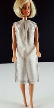 Barbie Sleeveless Shift Tan and White Vertical Stripe Clone 1960s Clothing - $19.79