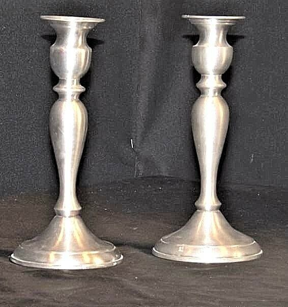 Candlestick Holders Leonard Genuine AA18 - 1040 Vintage Pair of Vintage Pewter