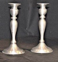 Candlestick Holders Leonard Genuine AA18 - 1040 Vintage Pair of Vintage Pewter image 1