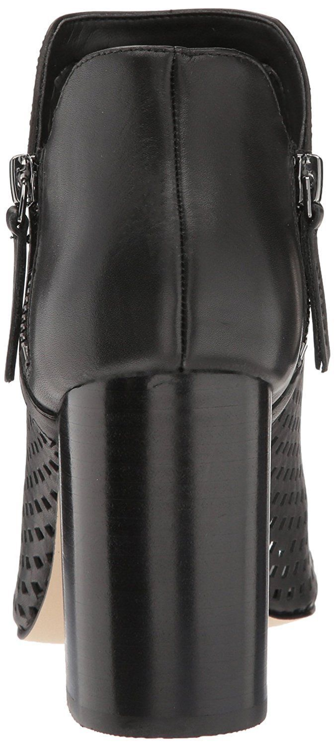 Women Guess Oana Perforated Leather V-Throat Peep-Toe Booties Black