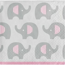 Little Peanut Girl 16 Ct Beverage Napkins Pink Elephant Baby Shower - $4.39