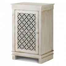 Wood Cabinet Distressed White with Circle Geometric Pattern Cutouts Shab... - $197.99