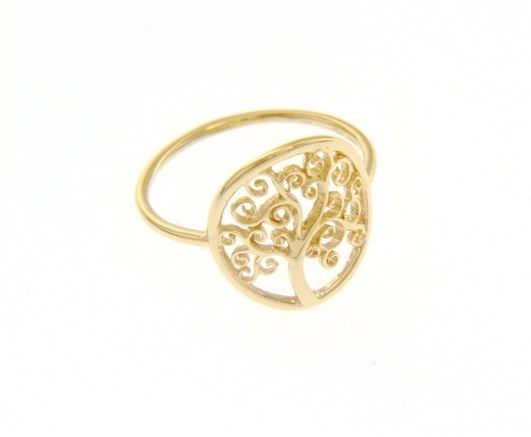 18K YELLOW GOLD TREE OF LIFE RING, SMOOTH, BRIGHT, LUMINOUS, MADE IN ITALY