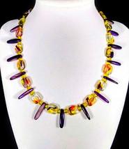 "17"" Square swirled rainbow glass beads, purple shell & artglass necklace - $85.00"