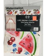 "3 pc. Kitchen Curtains Set: 2 Tiers & Swag (60""x 36"") WATERMELONS & BERR... - $17.81"