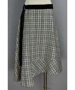 Louis Vuitton Black Ivory Gray Check Plaid Asymmetrical Belted Skirt Siz... - $336.59
