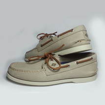 SPERRY Top-Sider Men Size 8.5 Boat Shoes Leather Perforated Cement Color - $94.58