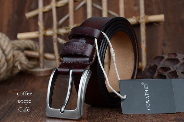 COWATHER cowhide genuine leather belts for men brand Strap male pin buckle vinta image 7