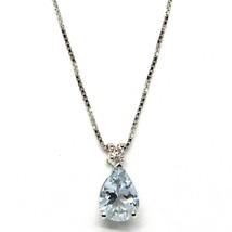 18K WHITE GOLD NECKLACE AQUAMARINE 0.60 DROP CUT & DIAMOND, PENDANT & CHAIN image 1