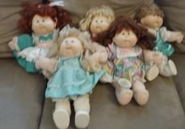 Lot of 5 1987 Talking Cabbage Patch Kids Doll Original Dress Vintage - $65.44