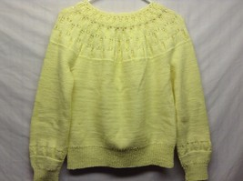 Bright Yellow Collared Girls or Petite Hand Knit Warm Cozy Sweater